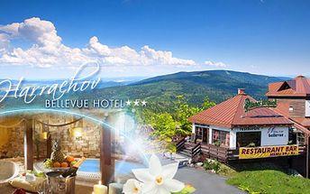 Hotel Bellevue*** v Harrachově! 3 DNY včetně POLOPENZE, neomezeného WELLNESS s ŘÍMSKÝMI LÁZNĚMI a Harrachov card za 2660 Kč PRO DVA! Hotel přímo u lanovky na Čertovu horu s krásným výhledem! Platnost až do 12/2014!