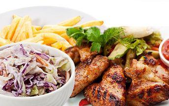 1000g výtečných grilovaných kuřecích křidélek v medovo-pikantní omáčce, 2x200g hranolek a salát coleslaw za neuvěřitelnou cenu 159 kč! Sleva 50%!