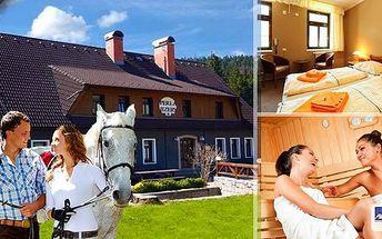 Pobyt v hotelu Perla Jizery v Jizerských horách na 3 dny s výletem v koňském sedle - snídaně, dvouchodový oběd, dvouchodová večeře, neomezená konzumace alko a nealko nápojů, návštěva sauny.