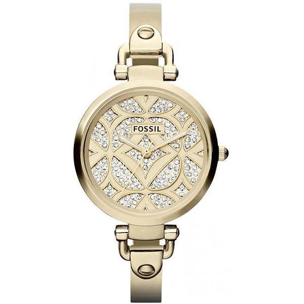 Dámské kulaté pozlacené hodinky Fossil s kamínky