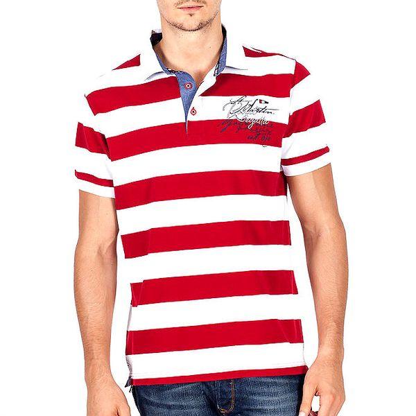 Pánské červeně pruhované polo tričko Galvanni