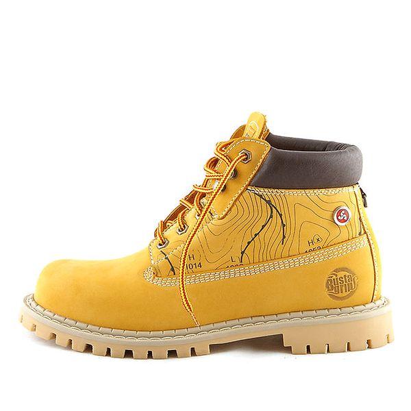 Kožené žluté boty s potiskem Bustagrip