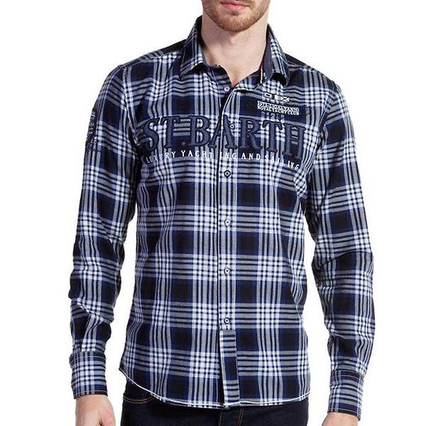Pánská modře kostkovaná košile Galvanni