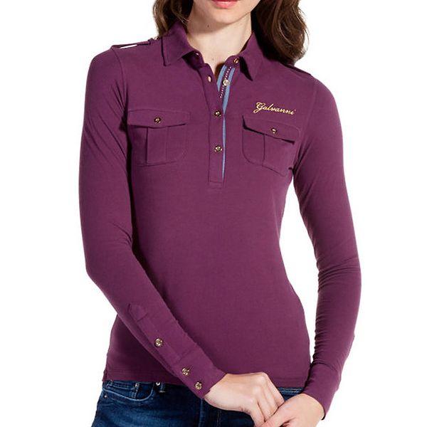 Dámské polo v odstínu fialové barvy s náprsními kapsičkami Galvanni