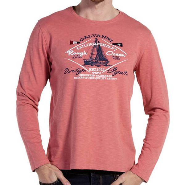 Pánské lososové tričko s dlouhým rukávem Galvanni