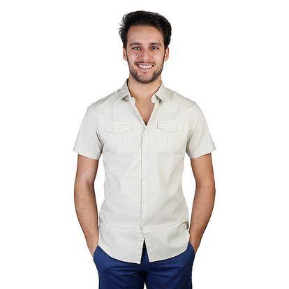Pánská krémová košile s krátkým rukávem Bonavita
