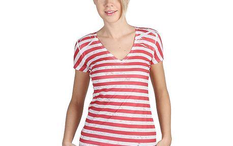 Dámské pruhované tričko s véčkovým výstřihem a potiskem Bonavita