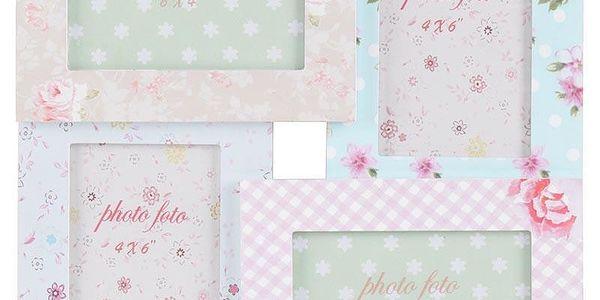 Dřevěný rámeček Pink Roses, 33x33 cm