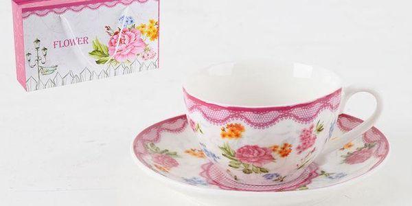 Porcelánová sada hrníčků na kávu v dárkové krabičce Roses, 6 ks