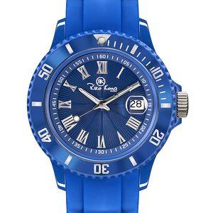 Modré analogové hodinky s římskými číslicemi Riko Kona