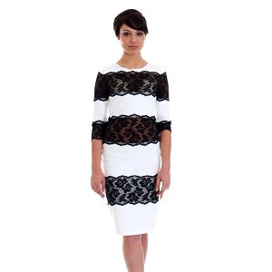 Dámské bílé šaty s černou krajkou SforStyle