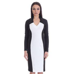 Dámské černo-bílé pouzdrové šaty SforStyle
