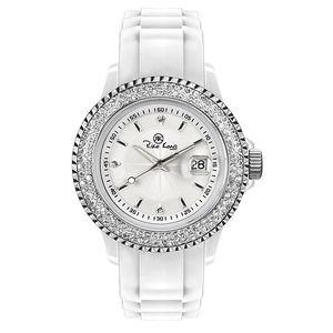 Bílé analogové hodinky s kamínky Riko Kona