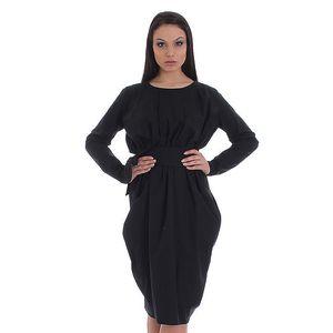 Dámské černé šaty s páskem a asymetrickou sukní SforStyle