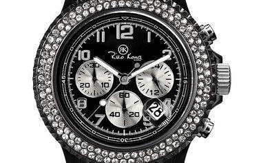Černé analogové hodinky s chronografem Riko Kona