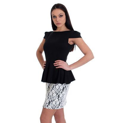 Dámské černé šaty s krajkovou sukní SforStyle
