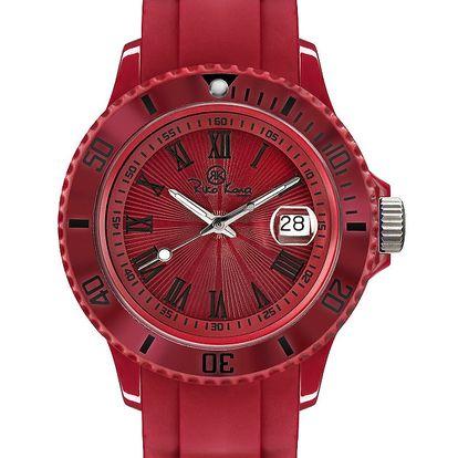 Červené analogové hodinky s římskými číslicemi Riko Kona