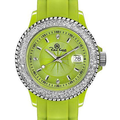 Zelené analogové hodinky s kamínky Riko Kona