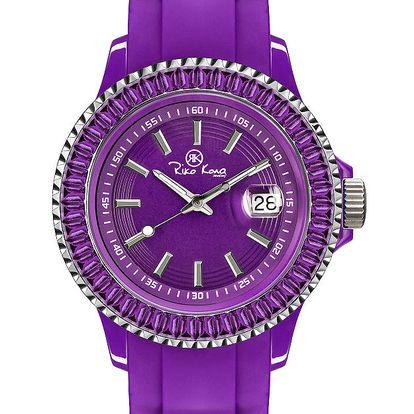 Fialové hodinky se silikonovým páskem a datumovkou Riko Kona