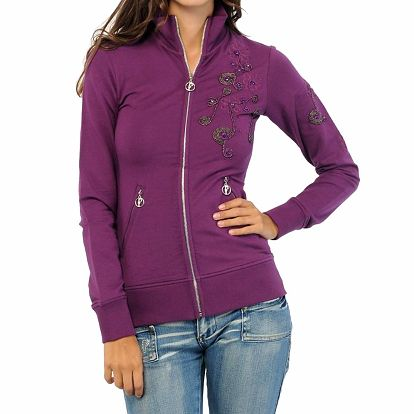 Dámská fialová mikina s korálkovou výšivkou ODM Fashion