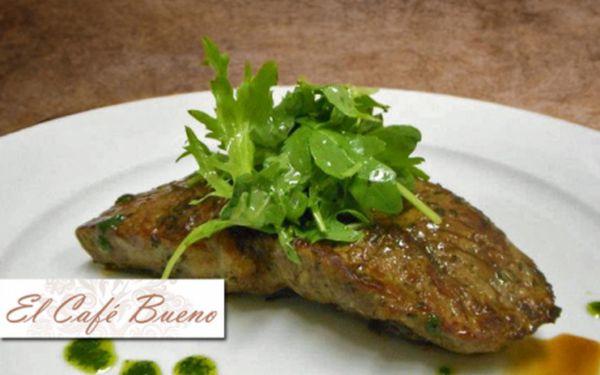 Vynikající ČESKÁ + SVĚTOVÁ KUCHYNĚ v nově otevřené stylové restauraci EL CAFÉ BUENO! Veškerá jídla se slevou 50 %! Specialitou šéfkuchaře jsou šťavnaté steaky nebo vlastnoručně vyráběné dezerty podle vlastních receptur! Moderní restaurace na Praze 10!