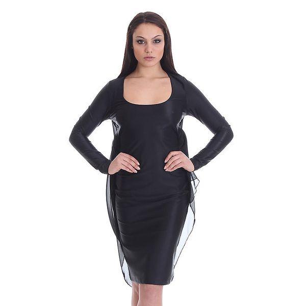 Dámské černé šaty s transparentní vrstvou SforStyle