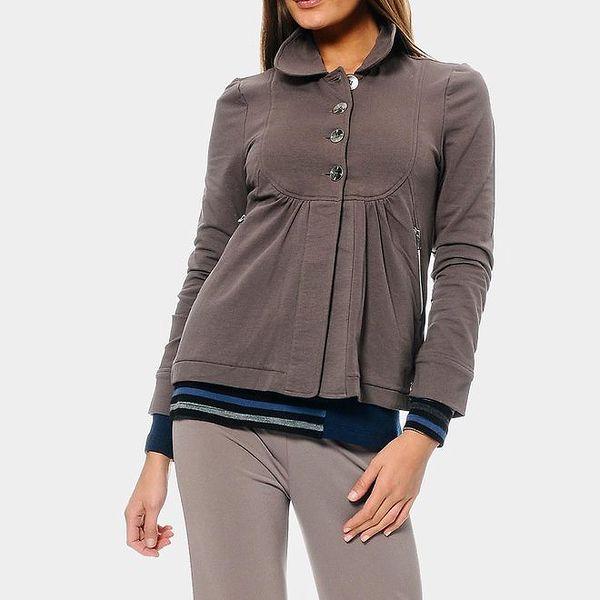 Dámská šedá mikina s límečkem ODM Fashion