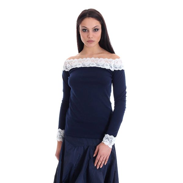 Dámský modrý top s bílou krajkou SforStyle