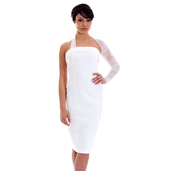 Dámské bílé šaty s krajkovým rukávem SforStyle