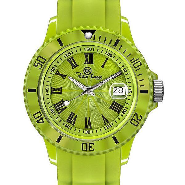 Zelené analogové hodinky s římskými číslicemi Riko Kona