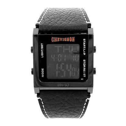 Černé digitální hodinky Chevignon s koženým řemínkem