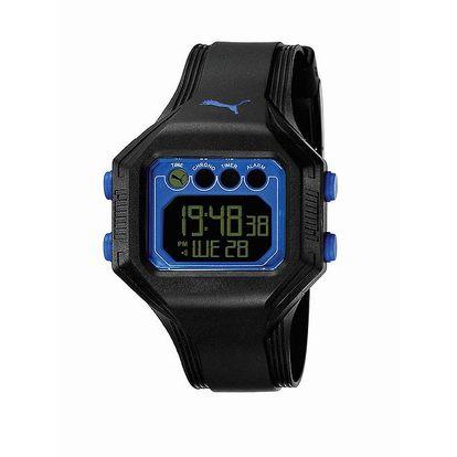 Pánské černé digitální hodinky Puma s modrou linkou