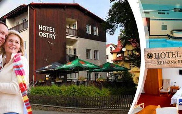 Ubytování pro dva na 3 dny na Šumavě v Hotelu Ostrý. Vychutnejte si pohodu s polopenzí a odpočinkem ve vířivce a bazénu. Děti do 3 let mají ubytování zdarma.