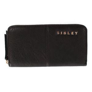 Dámská černá peněženka na zip s nápisem Sisley