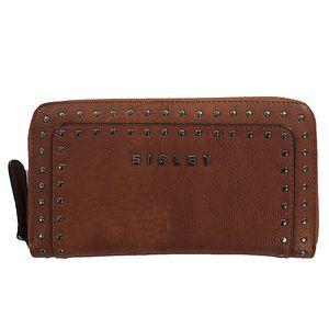 Dámská hnědá peněženka s cvočky Sisley