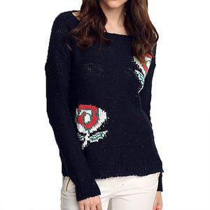Dámský tmavě modrý svetr s růžemi ARS Collection