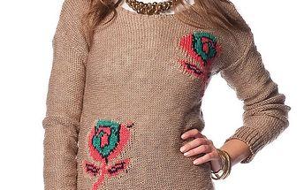 Dámský hnědý svetr s růžemi ARS Collection