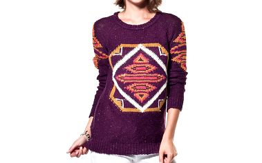 Dámský fialový svetr s ornamentem ARS Collection