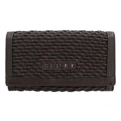 Dámská tmavě hnědá peněženka s logem Sisley