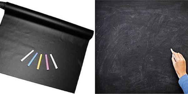 Nalepovací černá tabule 200 x 45 cm + 5 kříd