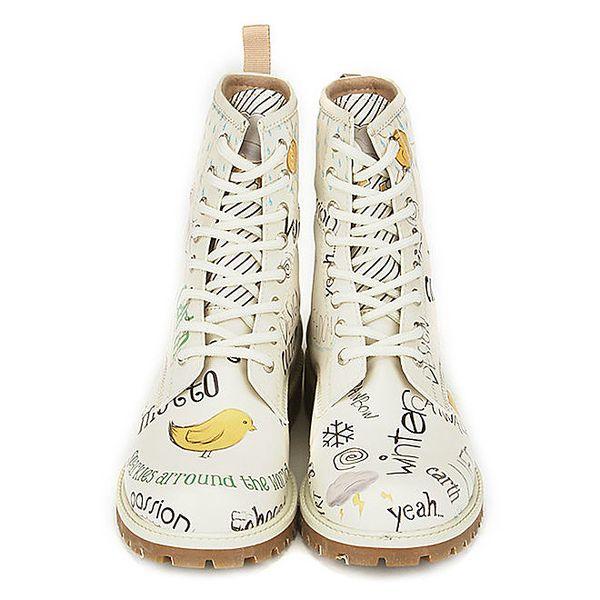 Dámské krémové šněrovací boty s potiskem Dogo