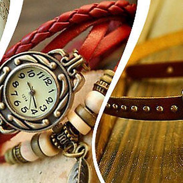 Dámské retro hodinky s koženým řemínkem