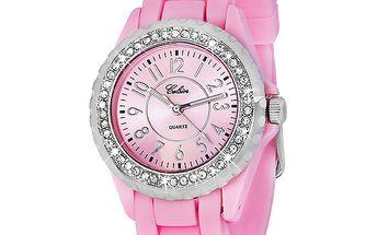 Dámské růžové hodinky s kamínky Swarovski Elements od Art de France
