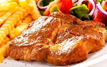 Menu se steakem na Staroměstském náměstí sleva!
