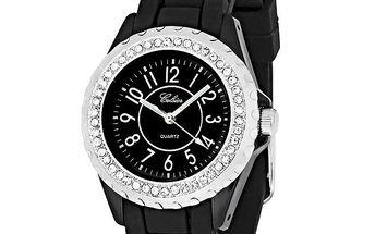 Dámské černé hodinky s kamínky Swarovski Elements od Art de France