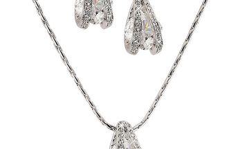 Dámský set šperků s kamínky Swarovski Elements - řetízek a náušnice Art de France
