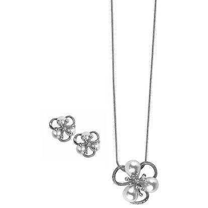 Dámské kytičkové šperky s kamínky Swarovski Elements - řetízek a náušnice Art de France