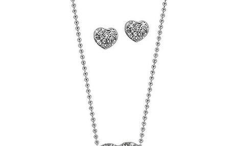 Dámský srdcový set s kamínky Swarovski Elements - řetízek a náušnice Art de France