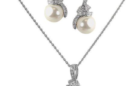 Dámský set s perličkami a kamínky Swarovski Elements - řetízek a náušnice Art de France