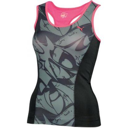 Dámské fitness tílko - puma ess gym graphic tank top černá